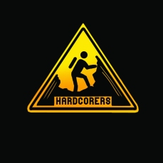 HARDCORERS. I designed this and printed it as stickers for fellow hikers. Adobe Photoshop CS5. 2012. Available in print.