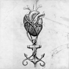 ANCHORED HEART. 2016. Primsacolor Fine Marker, granite pencil, and Sharpie.