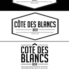 """CÔTE DES BLANCS. Adobe Illustrator CS5 and Adobe Photoshop CS5. 2015. Product design for a client. The sentence of """"Côte Des Blancs"""" is loosely translated as the white coast in French. The client had requested a simple design with a clean look for beer bottles. I've designed mock-ups, printed the final design on 8x11 paper and cut them up for my client to insert onto beer bottles."""