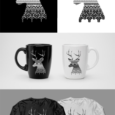 DEER DESIGN. 2017. Adobe Illustrator and Photoshop CS5. Black and white minimalism project.