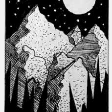 NIGHT AND MOUNTAINS. 2016. Drawn in freestyle with graphite pencil and thin Sharpie.