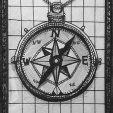 RANDOM COMPASS. 2016. Drawn in freestyle with graphite pencil and thin Sharpie.