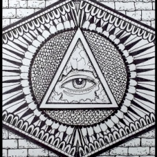 THE ALL-SEEING EYE. 2016. Drawn in freestyle with graphite pencil and thin Sharpie.