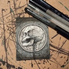 """THE SKULL IN THE CIRCLE."" [01/31] OF INKTOBER 2017."