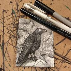 """THE RAVEN AND THE LINES."" [04/31] OF INKTOBER 2017."
